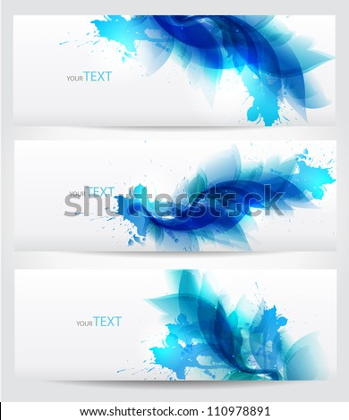 set of three banners, abstract floral blue elements with  blots - stock vector