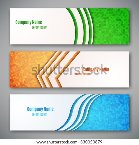 Set of three banners, abstract headers, vector illustration - stock vector