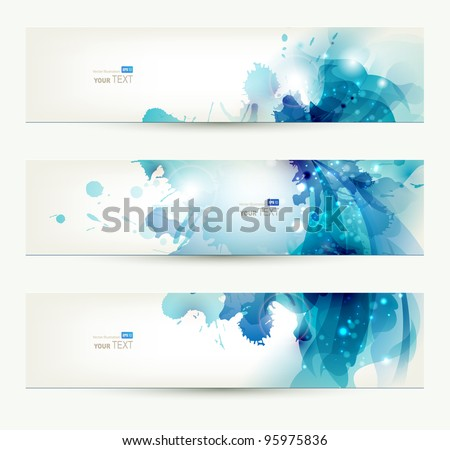 set of three banners, abstract  headers with blue blots - stock vector