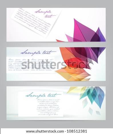 Set of three banners, abstract headers with rainbow flowers - stock vector
