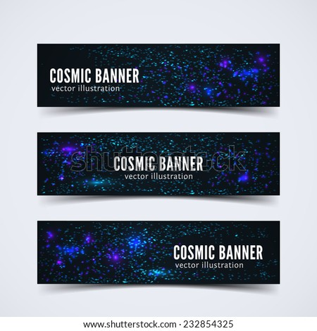 Set of three banners with abstract cosmic background for web sites and print. Eps10 vector illustration