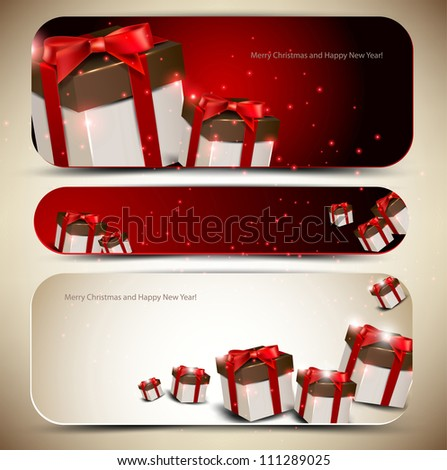 Set of three banners with gifts. Vector illustration