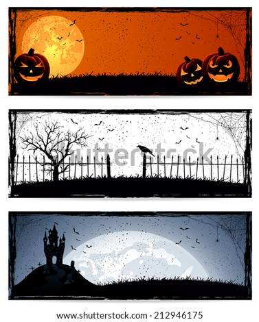Set of three banners with Halloween decoration, illustration.