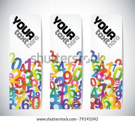 Set of three banners with transparent colorful numbers - stock vector