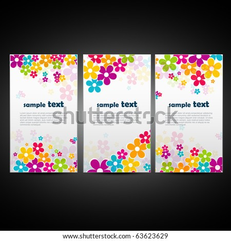 set of three beautiful flower background - stock vector