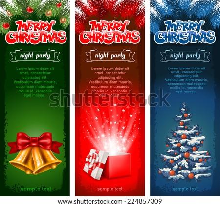 Set of three beautiful vertical Christmas flyers. Vector illustration. - stock vector
