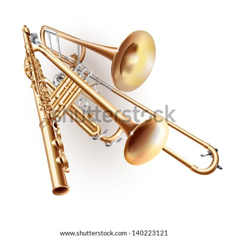 Set of three brass-wind musical instruments - classical trombone, flute and trumpet, isolated on white background. Vector illustration - stock vector