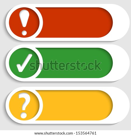 set of three buttons with marks - stock vector