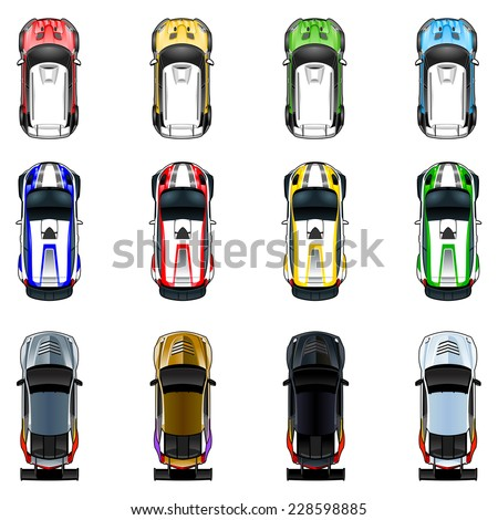 Set of three cars in four different colors. Vector isolated objects. - stock vector