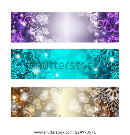 Set of three Christmas banners. With place for text - stock vector