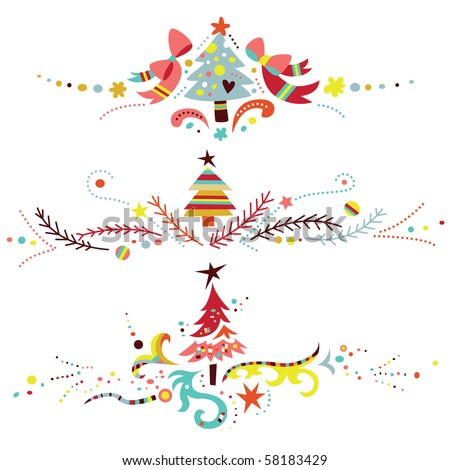 Set of three Christmas ornaments, especially suitable to use as dividers or borders. - stock vector