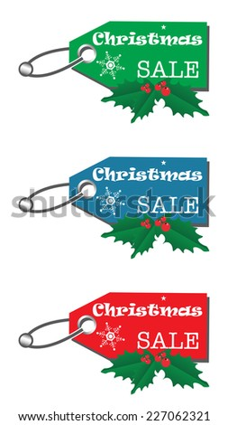 Set of three Christmas sale tags isolated on a white background - stock vector