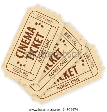 Set of Three Cinema Tickets, vector illustration - stock vector