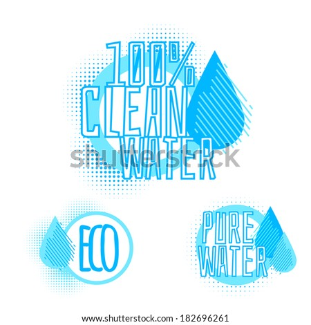 Set of three clear water icons - stock vector