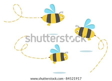 set of three color bees - stock vector