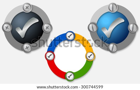 Set of three colored frames and check box - stock vector