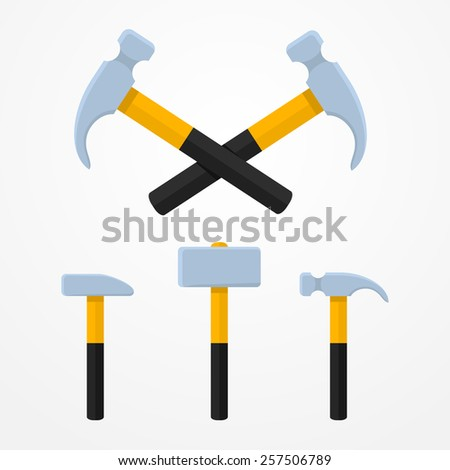 Set of three colorful cartoon hammer icons in flat style - stock vector