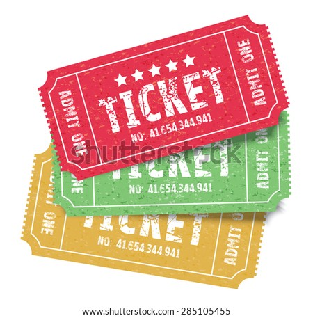 set of three colourful admit one tickets - stock vector