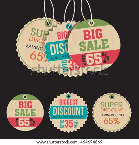 Set of three creative Sale or Price Tags, Labels design on grey background.