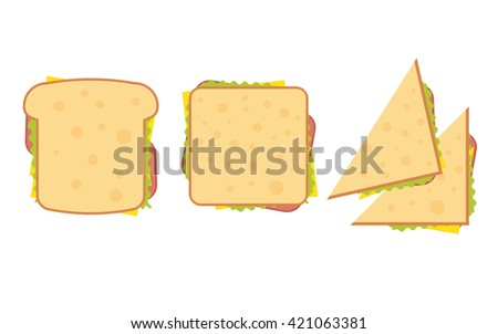 Set of three delicious sandwich illustrations rectangle, triangle and wrap. - stock vector