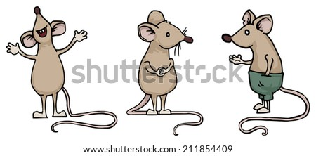 Set of three different mice, rats, vector illustration - stock vector