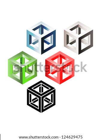 Set of three-dimensional wireframe cubes. Eps10 - stock vector