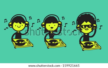 Set of three DJs with turntables - stock vector
