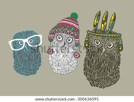 Set of three doodle owls. Vector illustration. - stock vector