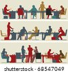 Set of three editable vector foreground silhouettes of colorful business meetings - stock vector
