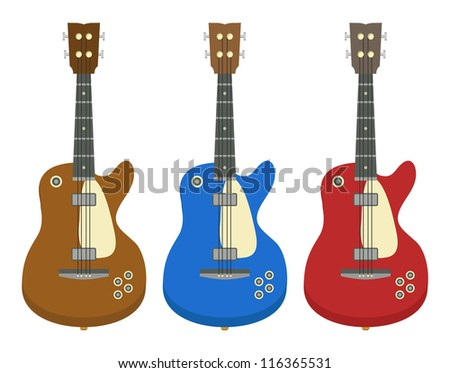 set of three electric guitars