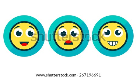 Set of Three Emotion Stickers Isolated on White - stock vector