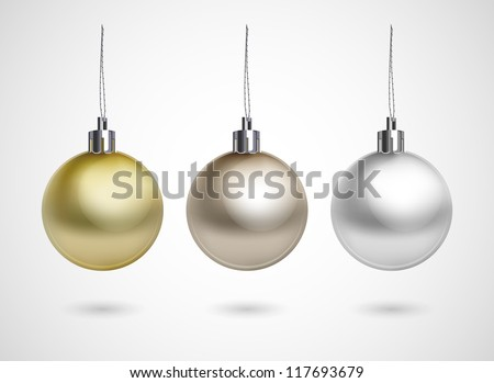 Set of three evening balls. Gold, silver, bronze symbol. - stock vector