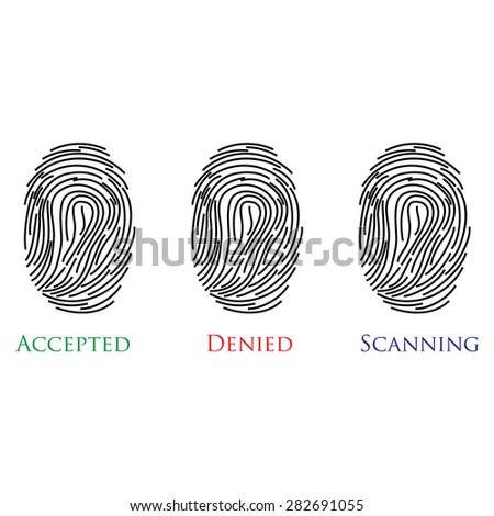 Set of three fingerprints with text accepted, denied, scanning vector illustration