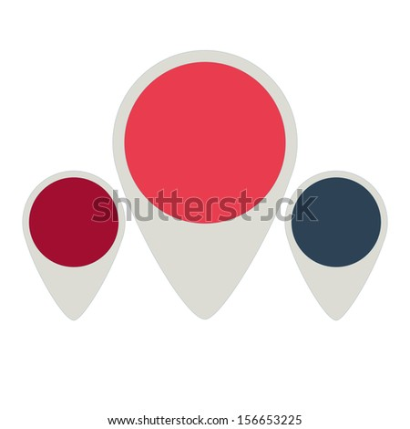 set of three flat tag colored pink, red and dark blue - stock vector