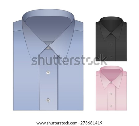 Set of three formal shirts for men. In classic colors: Oxford Blue, Black and Pastel Pink. Neck pattern, suitable for ties and suit templates. Vector design, isolated and scalable.