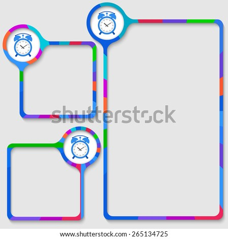 set of three frames for your text and alarm clock - stock vector