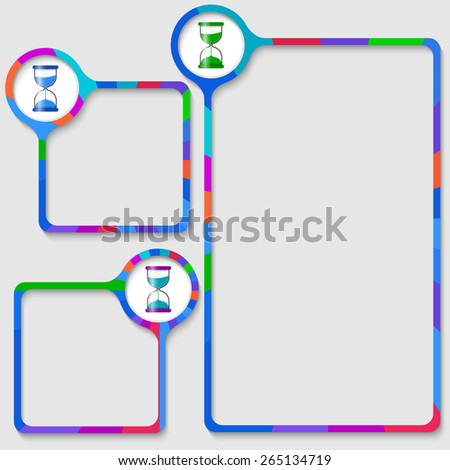 set of three frames for your text and sand glass - stock vector
