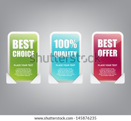 Set of three glossy plastic banners with reflex for business design or websites. Discount, big sale, offer, quality, choice
