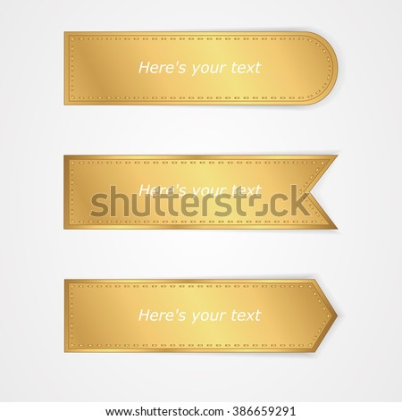 Set of three gold tag on a white background. Vector - stock vector