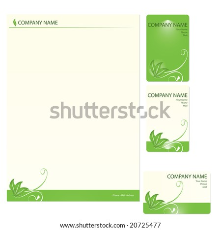 Set of three green business cards with floral elements (vector) - stock vector