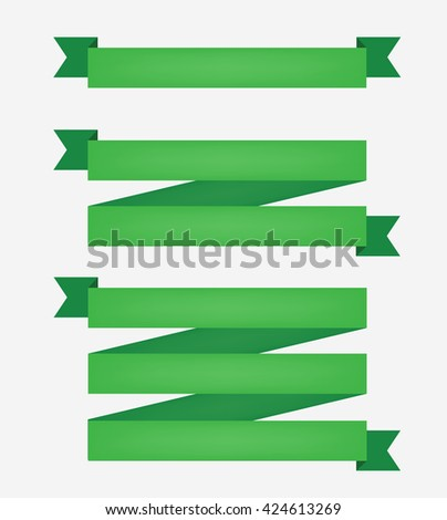 Set of three green vector ribbons.