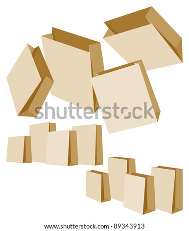 Set of Three Groups of Paper Bags on White Background. Vector Illustration
