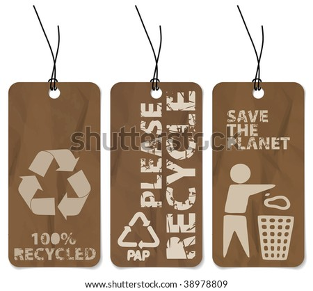 Set of three grunge tags for recycling - stock vector