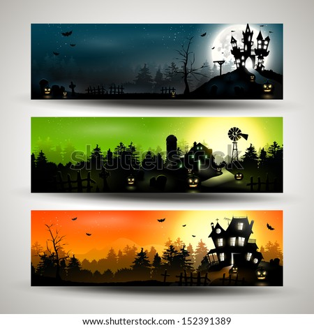 Set of three Halloween banners  - stock vector