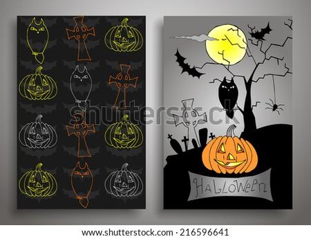 Set of three Halloween, Card and seamless pattern,Vector Illustration - stock vector