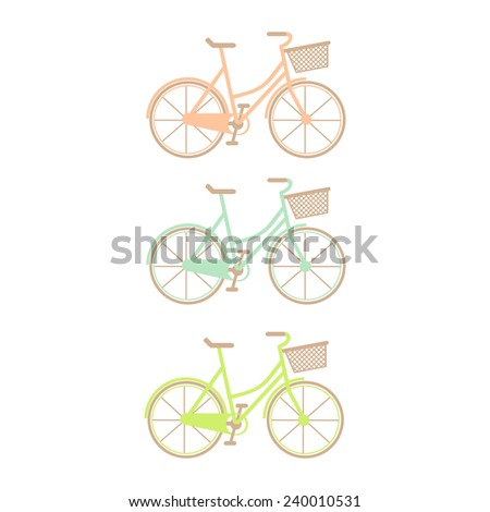 Set of three hand drawn bicycles - stock vector