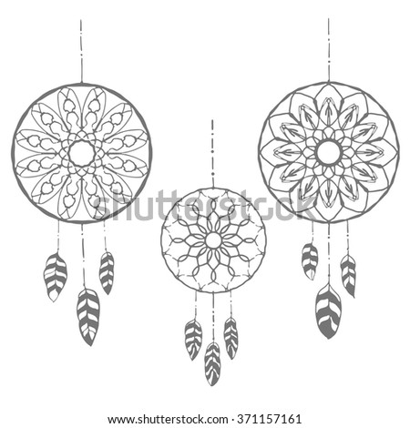 Set of three hand drawn dreamcatchers. Monochrome vector illustrations isolated on white. Boho style design elements. Tribal style design