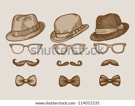 Set of three hand drawn vintage silhouettes of bowler, fedoras, mustaches, eyeglasses and a bow ties - vector illustration. - stock vector