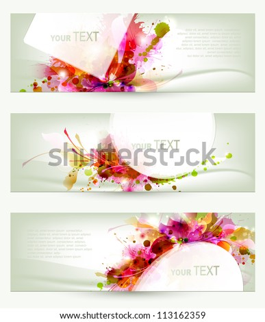Set of three headers. Abstract artistic Backgrounds - stock vector