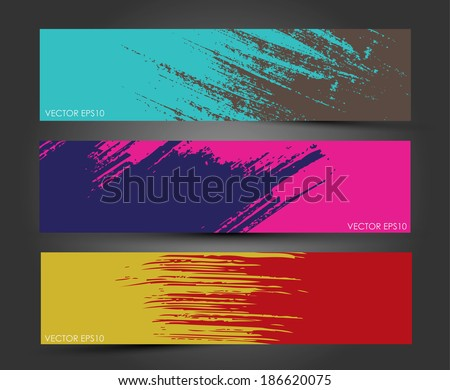 Set of three headers. Abstract Paint brush banner background.  - stock vector